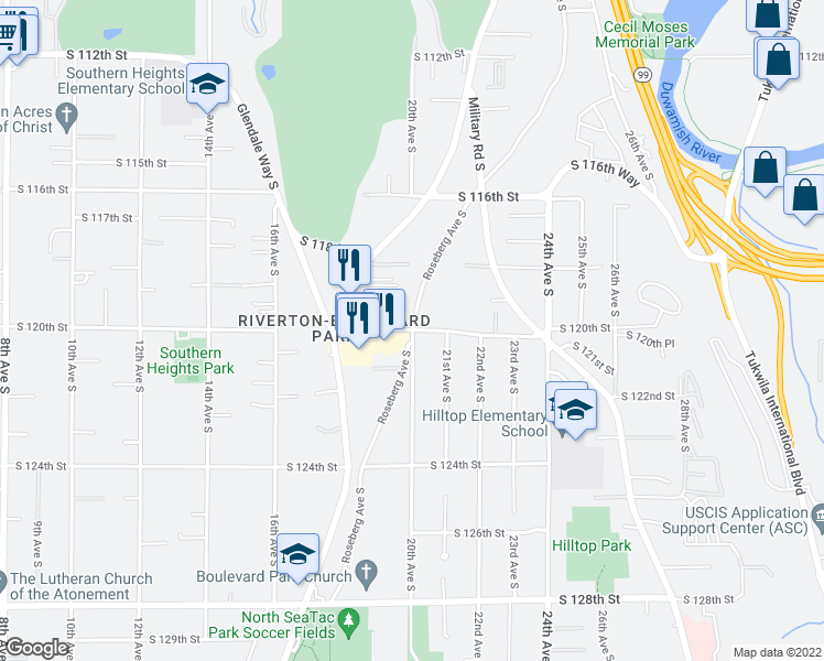 map of restaurants, bars, coffee shops, grocery stores, and more near S 120th St & Roseberg Ave S in Riverton-Boulevard Park