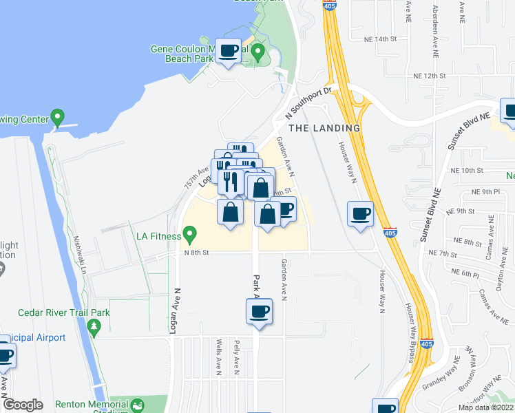 map of restaurants, bars, coffee shops, grocery stores, and more near 960 Park Avenue North in Renton