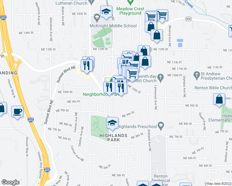 map of restaurants, bars, coffee shops, grocery stores, and more near 2674-2698 Northeast Sunset Boulevard in Renton