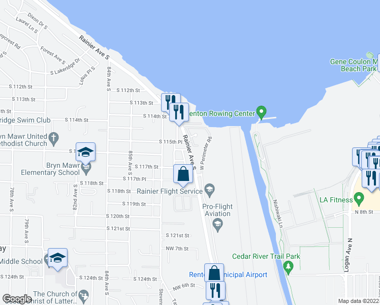 map of restaurants, bars, coffee shops, grocery stores, and more near 11600 Rainier Avenue South in Seattle