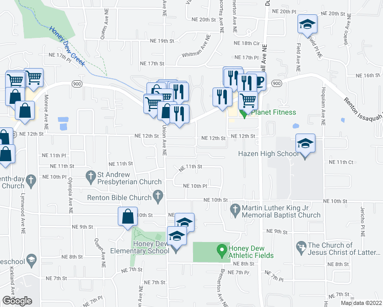 map of restaurants, bars, coffee shops, grocery stores, and more near 1150 Union Avenue Northeast in Renton