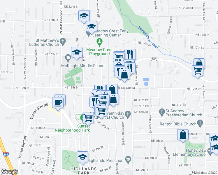 map of restaurants, bars, coffee shops, grocery stores, and more near Northeast 12th Street & Kirkland Ave NE in Renton