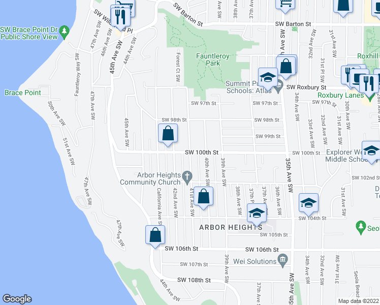 map of restaurants, bars, coffee shops, grocery stores, and more near 41st Avenue Southwest & Southwest 100th Street in Seattle