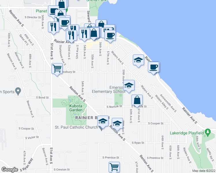 map of restaurants, bars, coffee shops, grocery stores, and more near 9648 57th Avenue South in Seattle