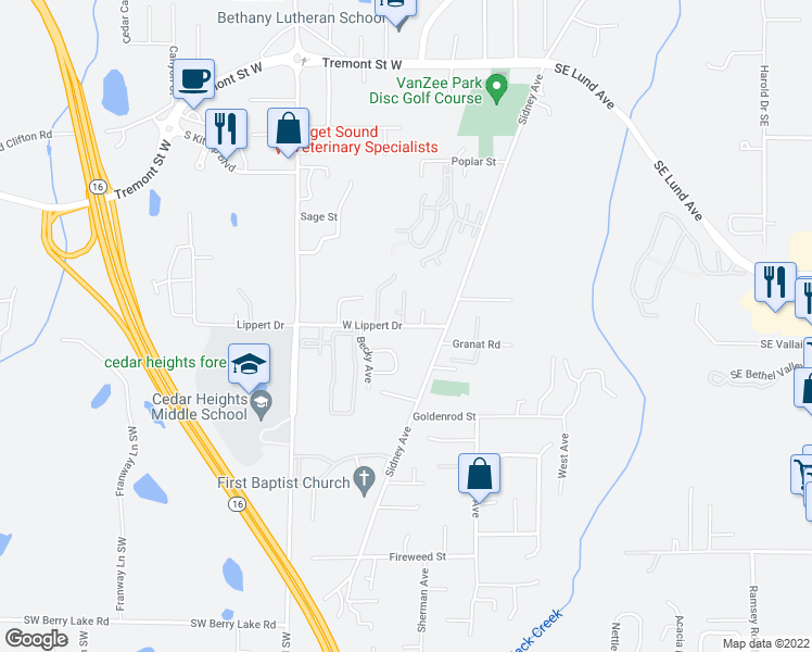 map of restaurants, bars, coffee shops, grocery stores, and more near 131 Lippert Dr W in Port Orchard