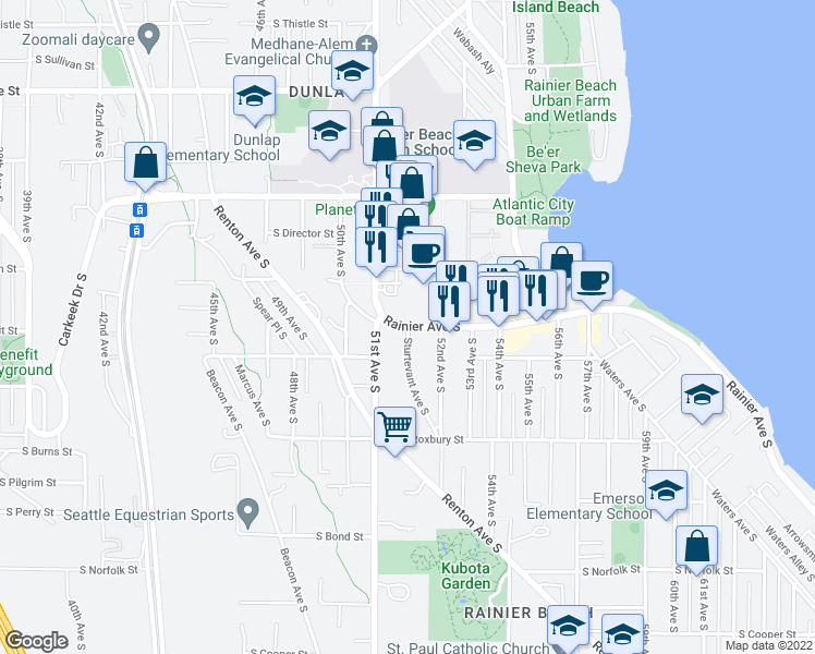 map of restaurants, bars, coffee shops, grocery stores, and more near Rainier Ave S & Sturtevant Ave S in Seattle