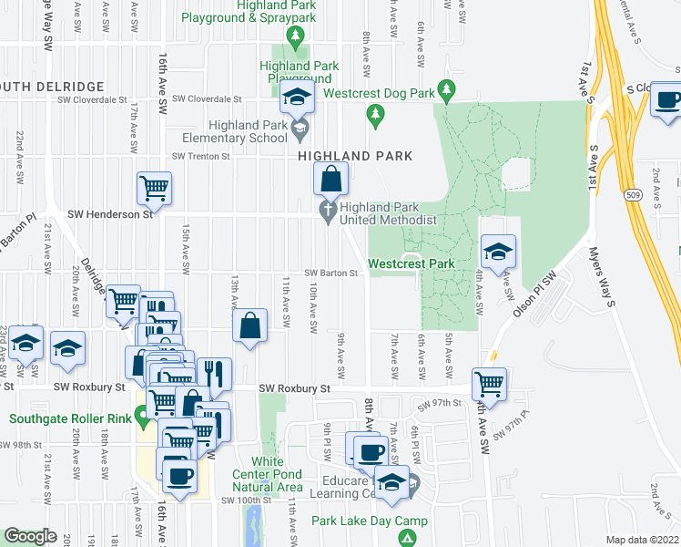 map of restaurants, bars, coffee shops, grocery stores, and more near SW Barton St & 9th Ave