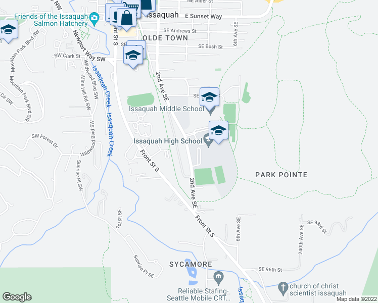 map of restaurants, bars, coffee shops, grocery stores, and more near The Rainier Trail in Issaquah