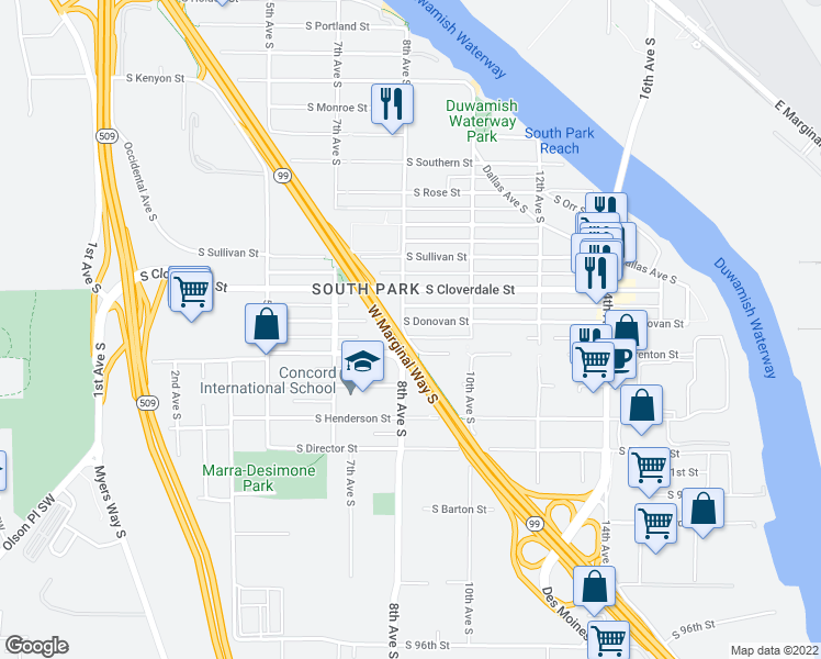 map of restaurants, bars, coffee shops, grocery stores, and more near 820 S Donovan St in Seattle