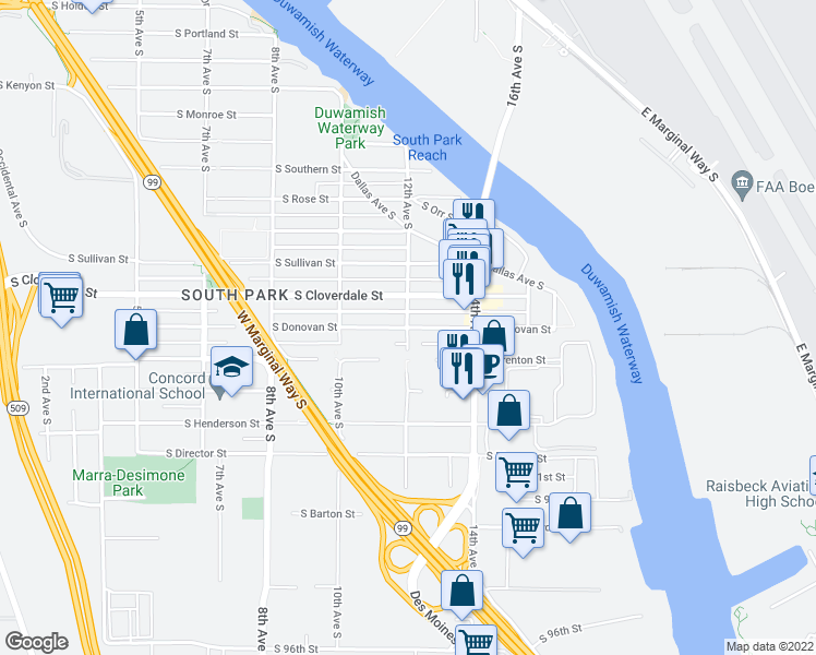 map of restaurants, bars, coffee shops, grocery stores, and more near 8698 12th Ave S in Seattle