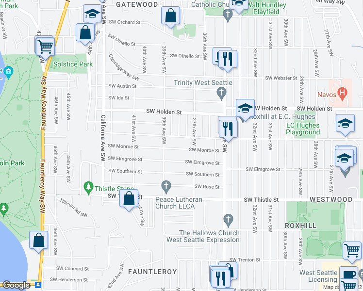 map of restaurants, bars, coffee shops, grocery stores, and more near 3722 Southwest Monroe Street in Seattle