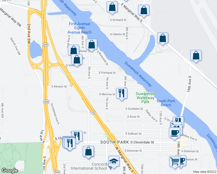 map of restaurants, bars, coffee shops, grocery stores, and more near 708 S Kenyon St in Seattle
