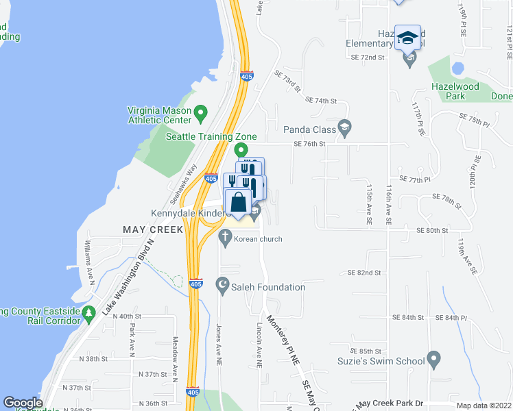map of restaurants, bars, coffee shops, grocery stores, and more near 1785 Northeast 44th Street in Renton