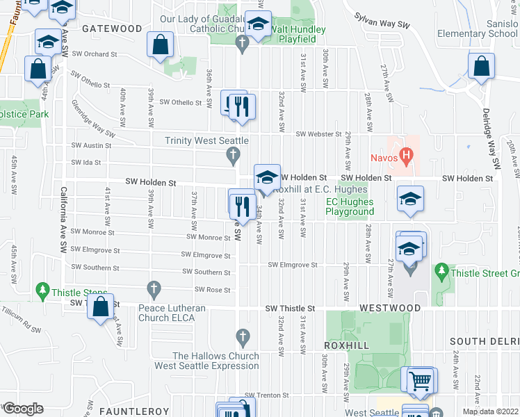 map of restaurants, bars, coffee shops, grocery stores, and more near 3448-3498 Southwest Kenyon Street in Seattle