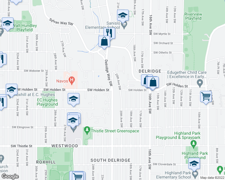 map of restaurants, bars, coffee shops, grocery stores, and more near Delridge Way Southwest & Southwest Holden Street in Seattle