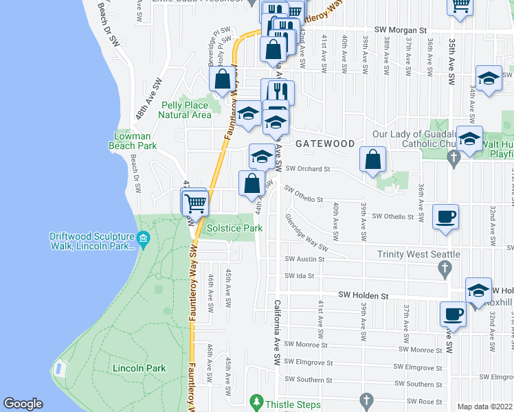 map of restaurants, bars, coffee shops, grocery stores, and more near 7337 44th Ave SW in Seattle