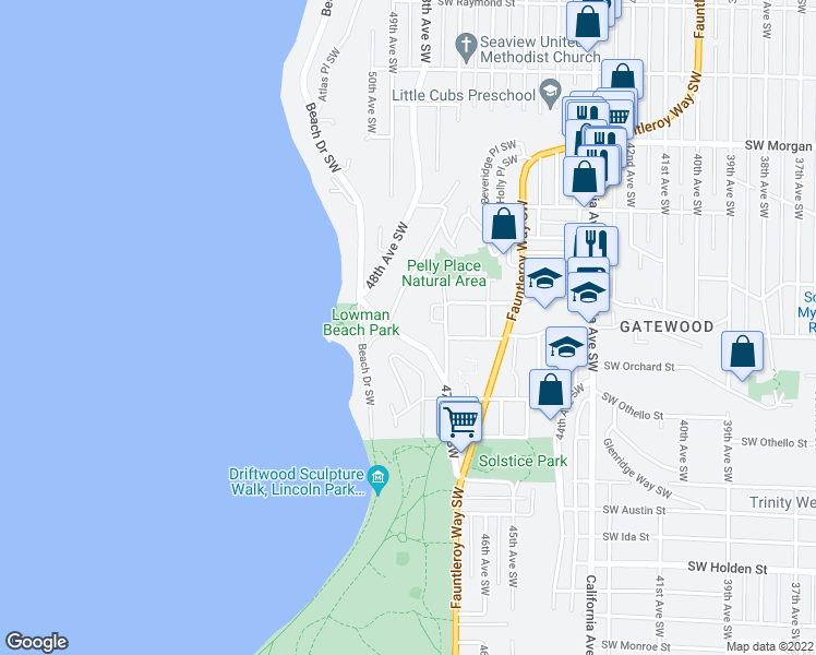 map of restaurants, bars, coffee shops, grocery stores, and more near 7060 Lincoln Park Way SW in Seattle