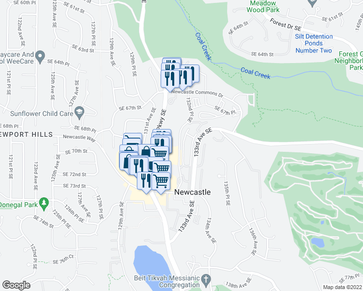 map of restaurants, bars, coffee shops, grocery stores, and more near 7000 132nd Pl SE in Renton