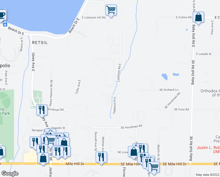 map of restaurants, bars, coffee shops, grocery stores, and more near 3927 East Sandbar Court in Port Orchard