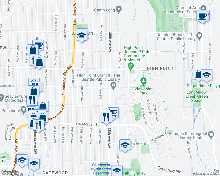 map of restaurants, bars, coffee shops, grocery stores, and more near 35th Ave SW & SW Raymond St in Seattle