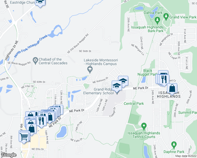 map of restaurants, bars, coffee shops, grocery stores, and more near 1634 NE Katsura St in Issaquah