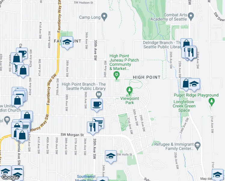 map of restaurants, bars, coffee shops, grocery stores, and more near 5634 37th Avenue Southwest in Seattle