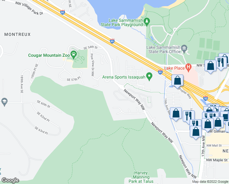 map of restaurants, bars, coffee shops, grocery stores, and more near 19854-19978 Newport Way NW in Issaquah