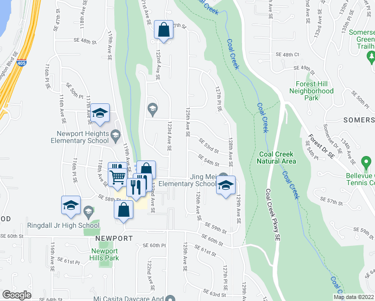 map of restaurants, bars, coffee shops, grocery stores, and more near 125th Avenue Southeast & Southeast 54th Street in Bellevue