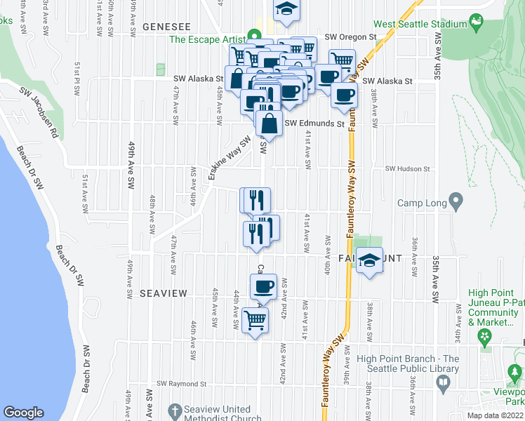 map of restaurants, bars, coffee shops, grocery stores, and more near California Ave SW & SW Dawson St in Seattle