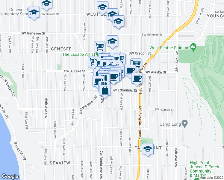 map of restaurants, bars, coffee shops, grocery stores, and more near 42nd Avenue Southwest & Southwest Edmunds Street in Seattle