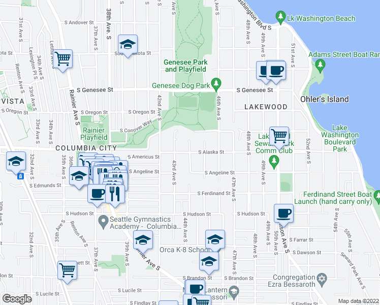 map of restaurants, bars, coffee shops, grocery stores, and more near South Alaska Street & 44th Avenue South in Seattle