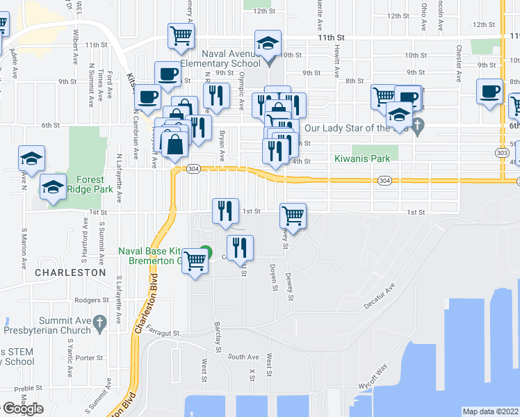 map of restaurants, bars, coffee shops, grocery stores, and more near Mahan Avenue in Bremerton