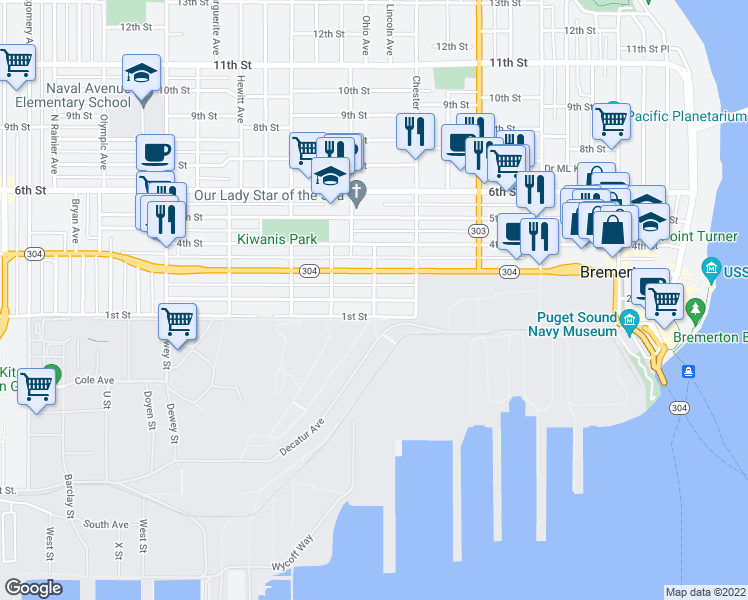 map of restaurants, bars, coffee shops, grocery stores, and more near Gregory Way &am