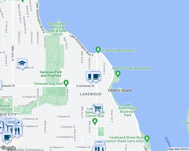 map of restaurants, bars, coffee shops, grocery stores, and more near 4921 S Adams St in Seattle