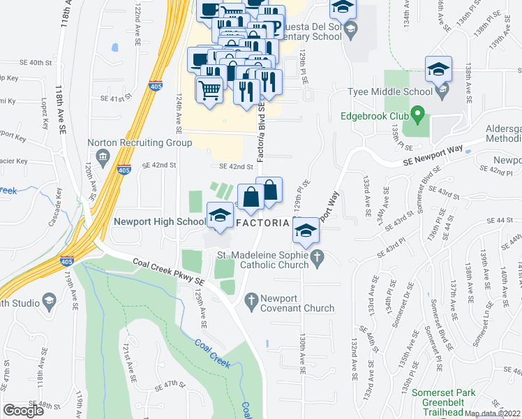 map of restaurants, bars, coffee shops, grocery stores, and more near 4220 Factoria Boulevard Southeast in Bellevue