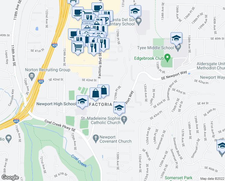 map of restaurants, bars, coffee shops, grocery stores, and more near 4249 129th Pl SE in Bellevue