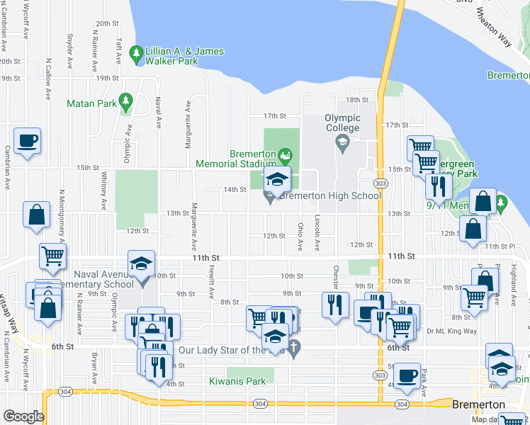 map of restaurants, bars, coffee shops, grocery stores, and more near 1201-1299 Sidney Avenue in Bremerton