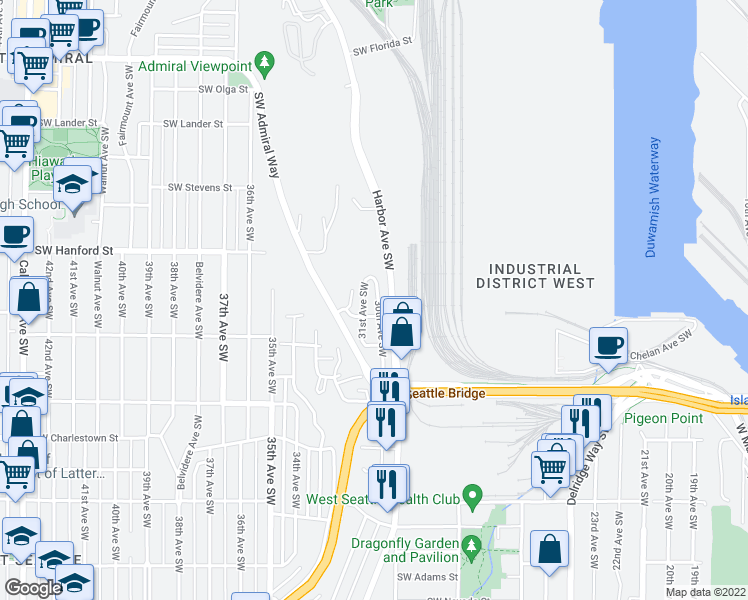 map of restaurants, bars, coffee shops, grocery stores, and more near 3239 30th Avenue Southwest in Seattle