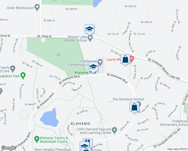 map of restaurants, bars, coffee shops, grocery stores, and more near 25167-25259 Southeast Klahanie Boulevard in Issaquah