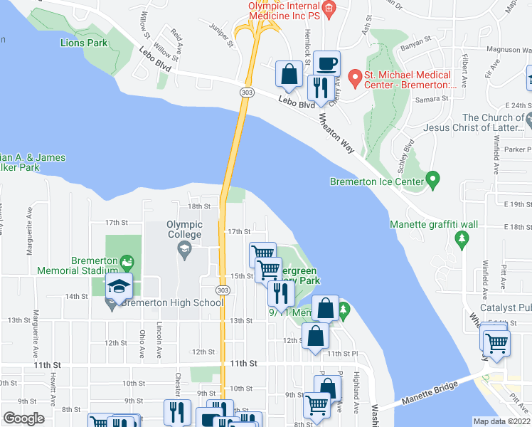map of restaurants, bars, coffee shops, grocery stores, and more near 1725 Park Avenue in Bremerton