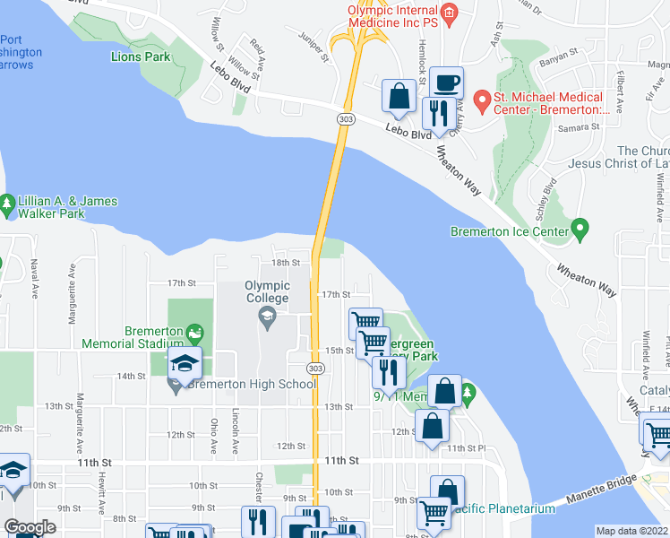 map of restaurants, bars, coffee shops, grocery stores, and more near 1720 Warren Avenue in Bremerton