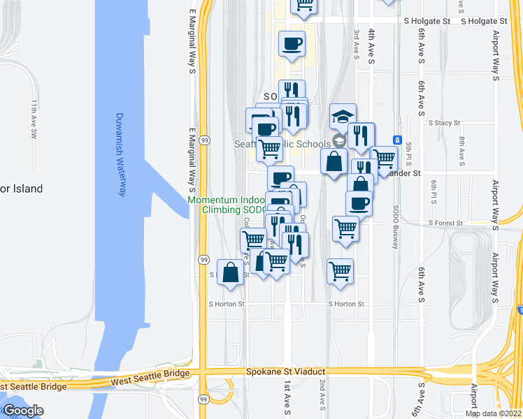 map of restaurants, bars, coffee shops, grocery stores, and more near 25 in Seattle