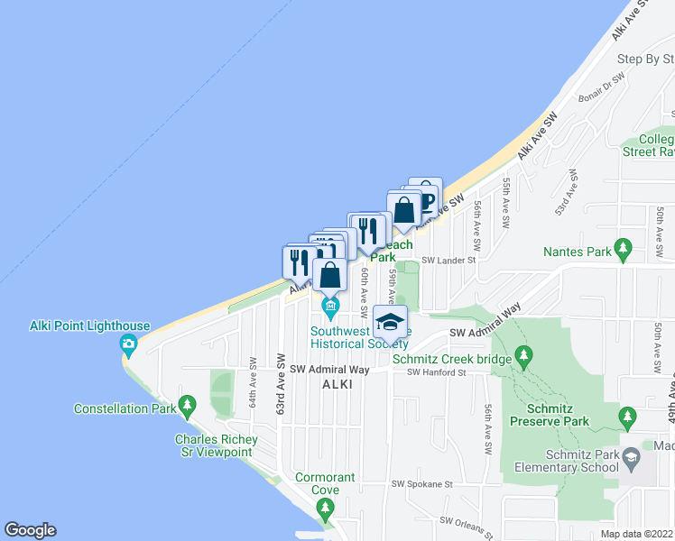 map of restaurants, bars, coffee shops, grocery stores, and more near Alki Avenue Southwest & 61st Avenue Southwest in Seattle