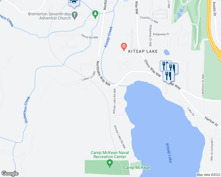 map of restaurants, bars, coffee shops, grocery stores, and more near 1843 Kitsap Lake Rd NW in Bremerton