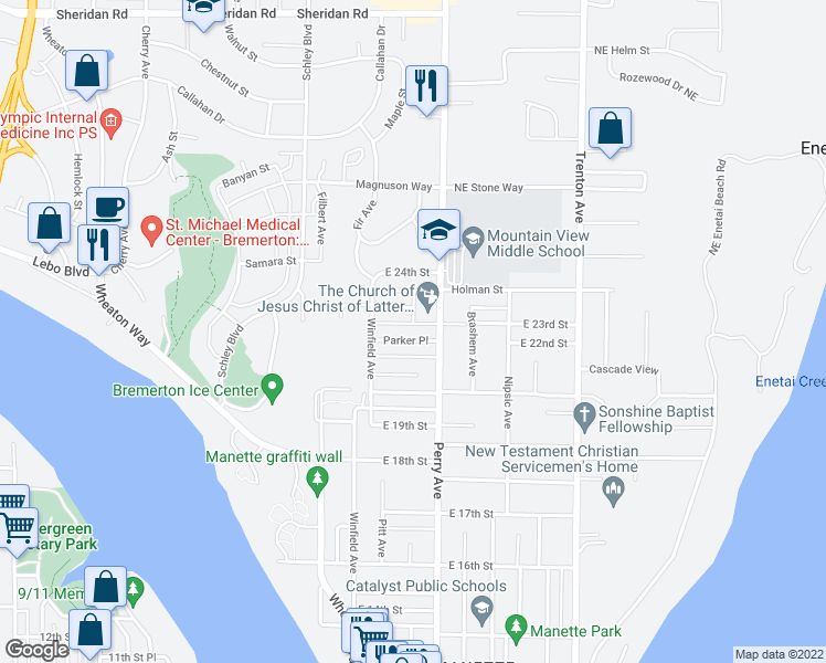 map of restaurants, bars, coffee shops, grocery stores, and more near 2138 Parker Place in Bremerton