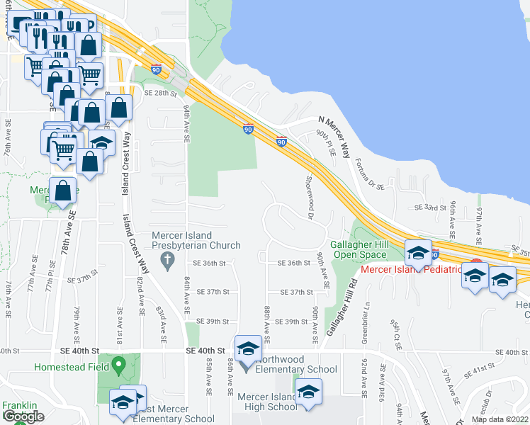 map of restaurants, bars, coffee shops, grocery stores, and more near 3209 W Shorewood Dr in Mercer Island