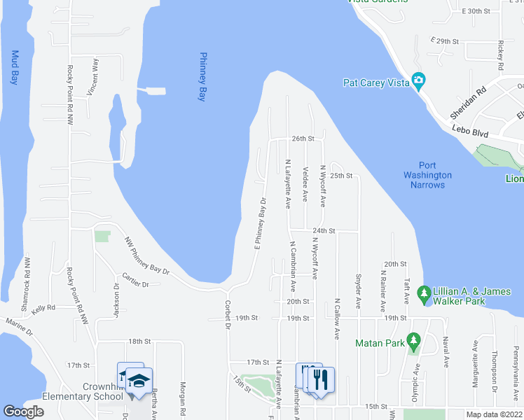 map of restaurants, bars, coffee shops, grocery stores, and more near E Phinney Bay Dr in Bremerton