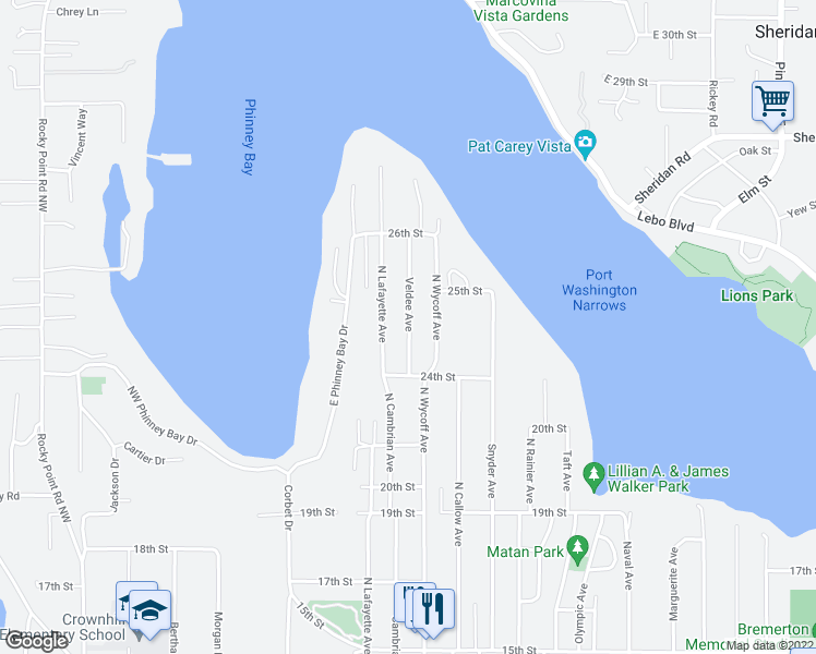 map of restaurants, bars, coffee shops, grocery stores, and more near 2429 Veldee Avenue in Bremerton