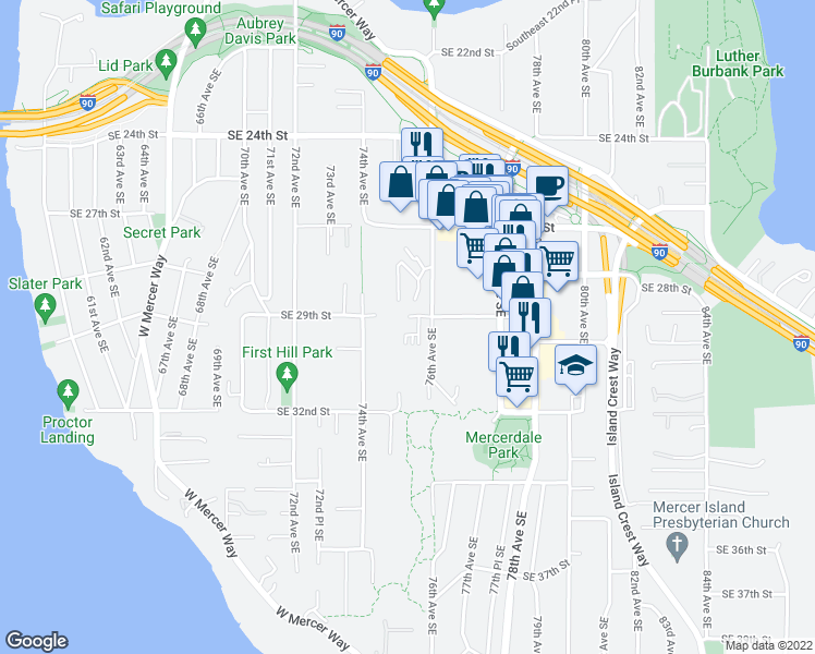 map of restaurants, bars, coffee shops, grocery stores, and more near 104 Southeast 29th Street in Mercer Island