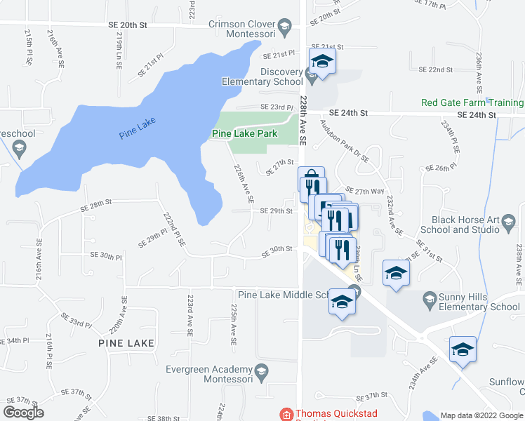 map of restaurants, bars, coffee shops, grocery stores, and more near 2818 226th Avenue Southeast in Sammamish
